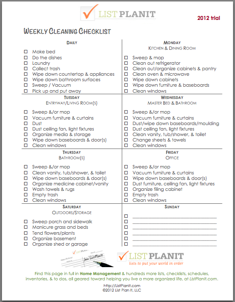 Daily & Weekly House Cleaning Checklist